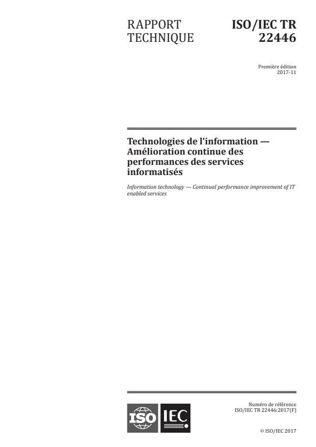 ISO/IEC TR 22446:2017 - Technologies de l'information -- Amélioration continue des performances des services informatisés
