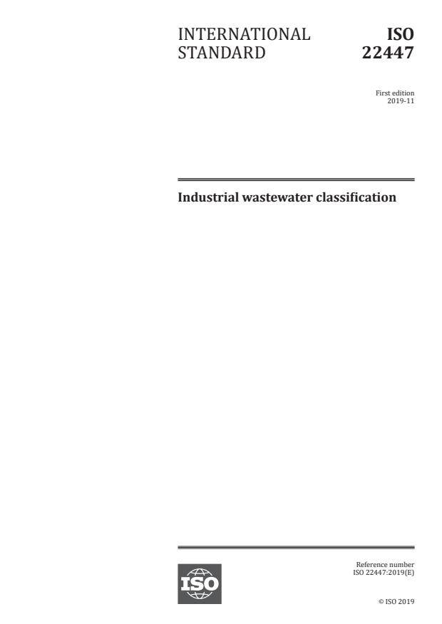 ISO 22447:2019 - Industrial wastewater classification