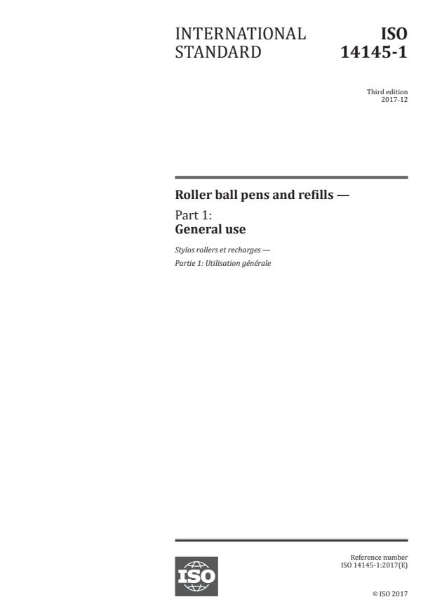 ISO 14145-1:2017 - Roller ball pens and refills
