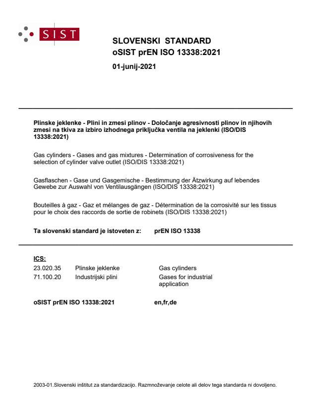 oSIST prEN ISO 13338:2021