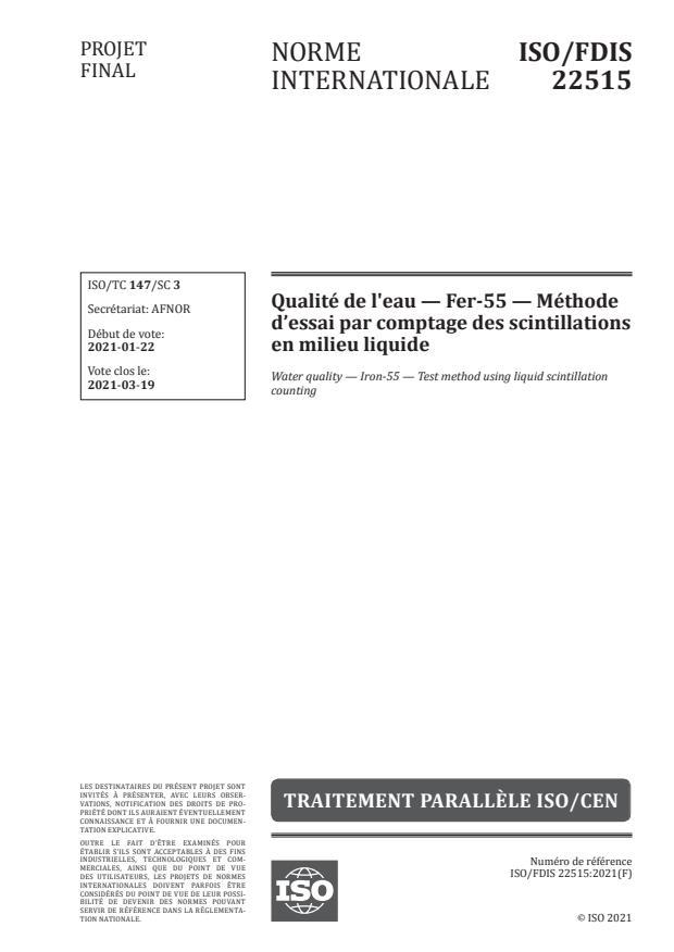 ISO/FDIS 22515:Version 30-jan-2021 - Qualité de l'eau -- Fer-55 -- Méthode d'essai par comptage des scintillations en milieu liquide