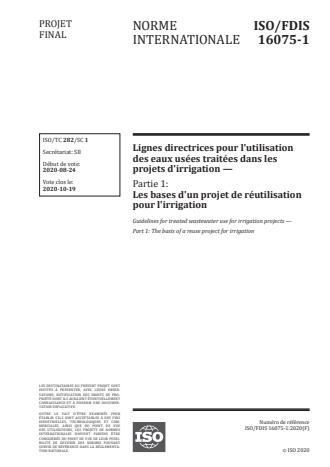 ISO/FDIS 16075-1:Version 13-okt-2020 - Lignes directrices pour l'utilisation des eaux usées traitées dans les projets d'irrigation