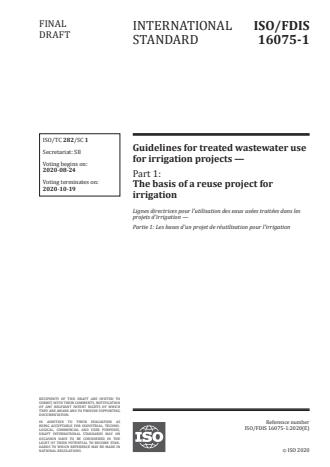 ISO/FDIS 16075-1:Version 13-okt-2020 - Guidelines for treated wastewater use for irrigation projects
