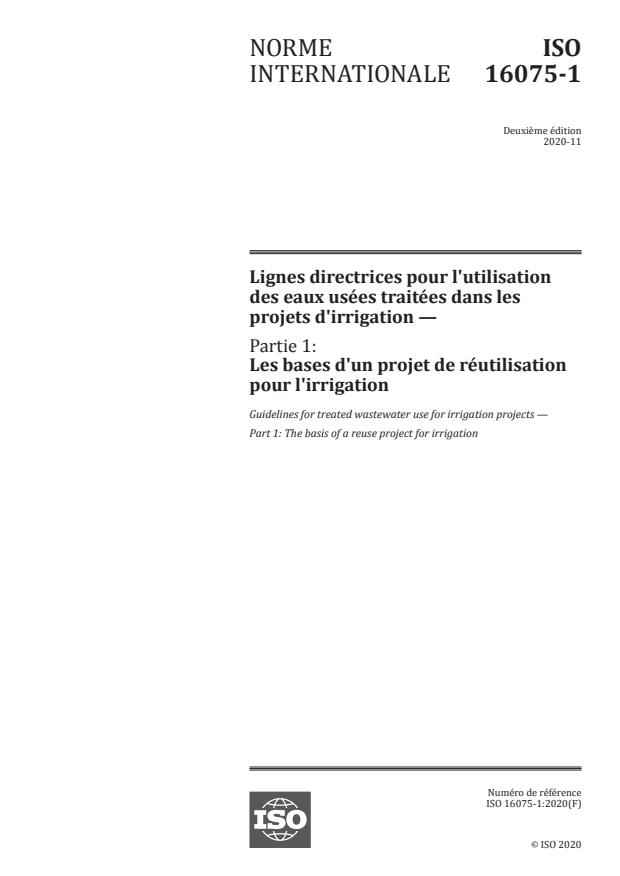 ISO 16075-1:2020 - Lignes directrices pour l'utilisation des eaux usées traitées dans les projets d'irrigation