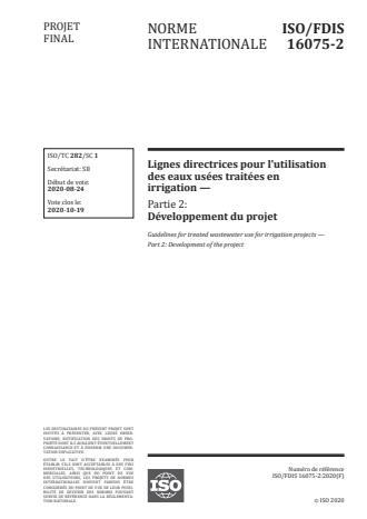 ISO/FDIS 16075-2:Version 13-okt-2020 - Lignes directrices pour l'utilisation des eaux usées traitées en irrigation