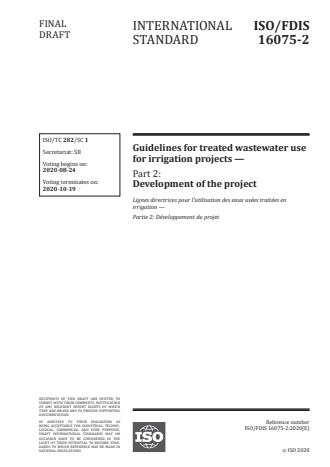 ISO/FDIS 16075-2:Version 13-okt-2020 - Guidelines for treated wastewater use for irrigation projects