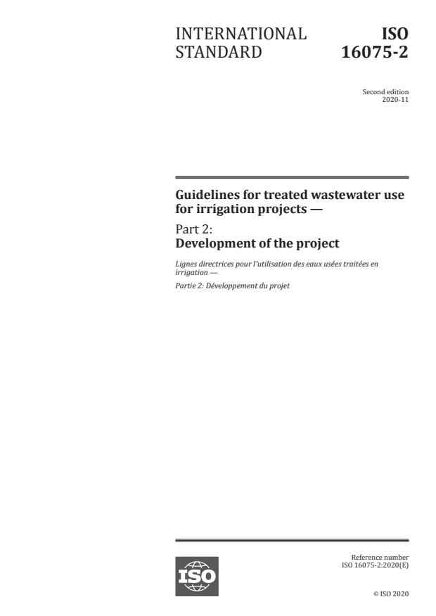 ISO 16075-2:2020 - Guidelines for treated wastewater use for irrigation projects