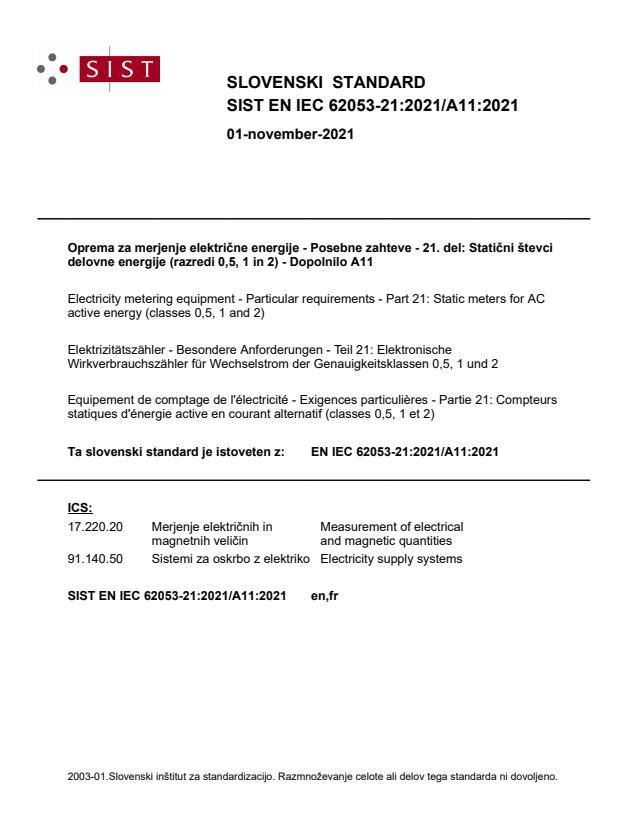 SIST EN IEC 62053-21:2021/A11:2021