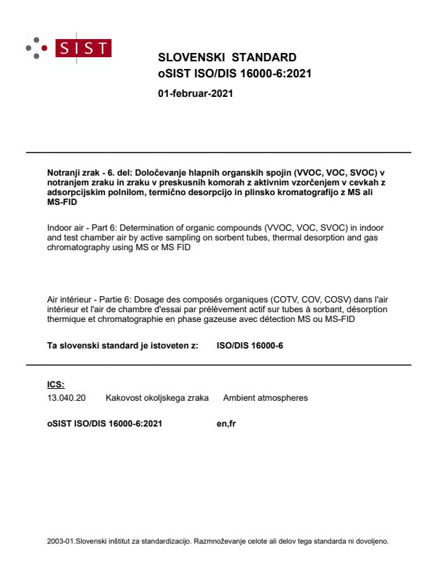 ISO/DIS 16000-6:2021
