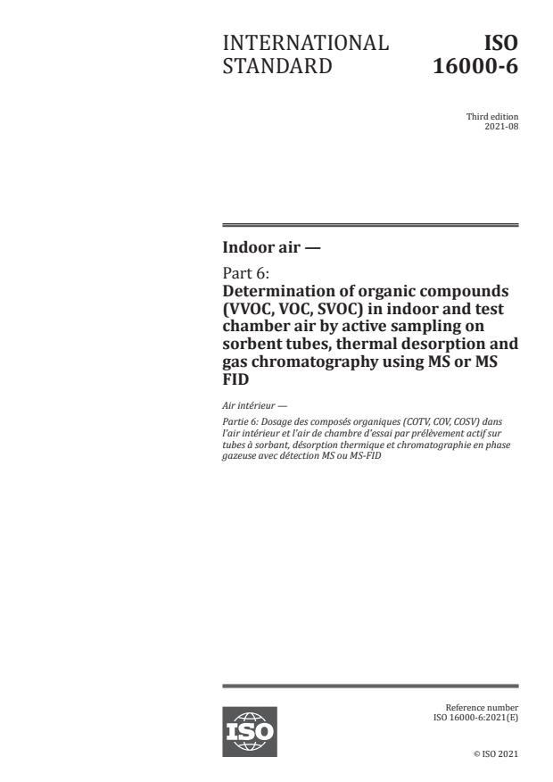 ISO 16000-6:2021 - Indoor air