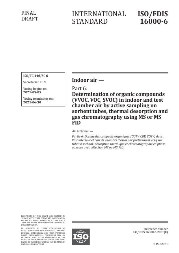 ISO/FDIS 16000-6:Version 01-maj-2021 - Indoor air