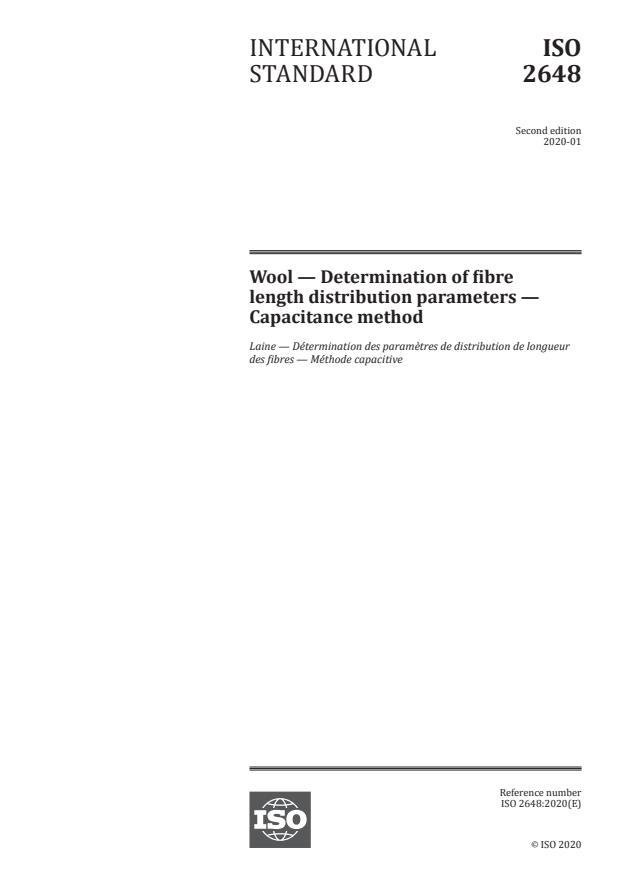 ISO 2648:2020 - Wool -- Determination of fibre length distribution parameters -- Capacitance method