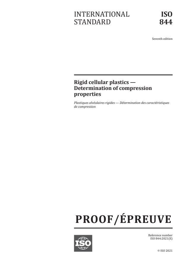 ISO/PRF 844:Version 12-feb-2021 - Rigid cellular plastics -- Determination of compression properties