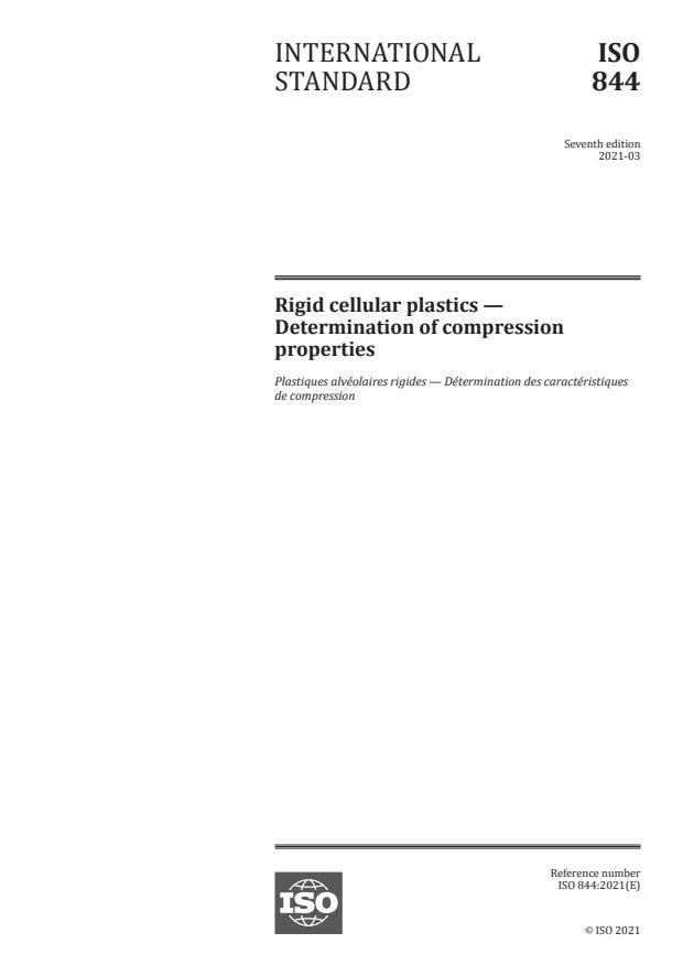 ISO 844:2021 - Rigid cellular plastics -- Determination of compression properties