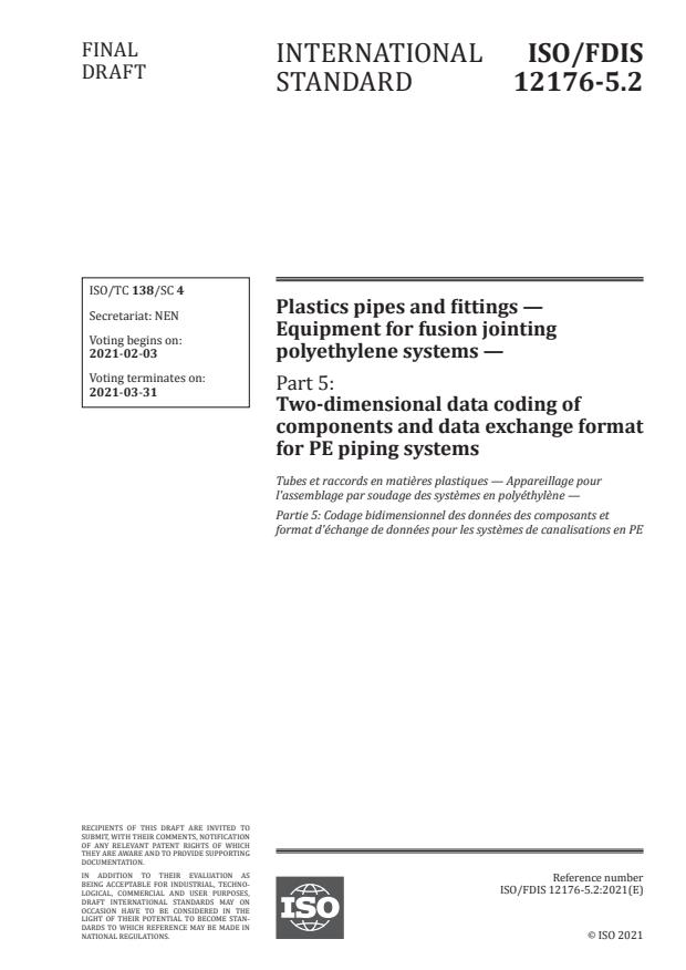 ISO/FDIS 12176-5.2:Version 30-jan-2021 - Plastics pipes and fittings -- Equipment for fusion jointing polyethylene systems