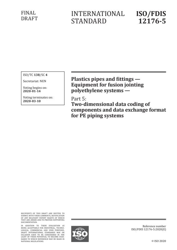 ISO/FDIS 12176-5:Version 12-okt-2020 - Plastics pipes and fittings -- Equipment for fusion jointing polyethylene systems