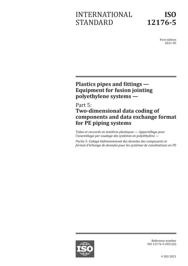 ISO 12176-5:2021 - Plastics pipes and fittings -- Equipment for fusion jointing polyethylene systems