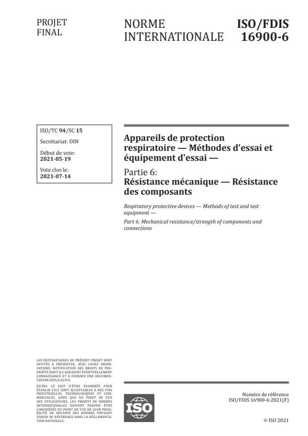 ISO/FDIS 16900-6:Version 19-jun-2021 - Appareils de protection respiratoire -- Méthodes d'essai et équipement d'essai