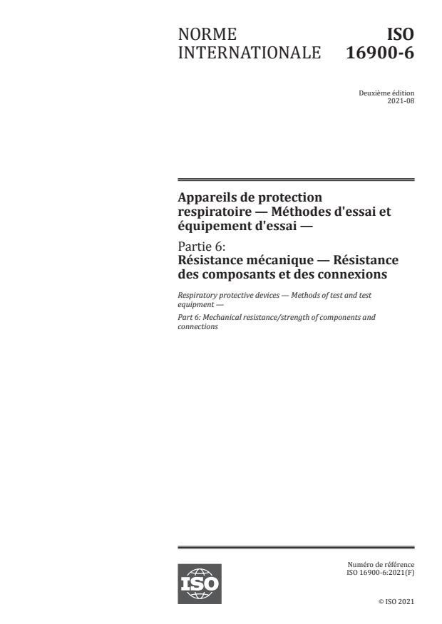ISO 16900-6:2021 - Appareils de protection respiratoire -- Méthodes d'essai et équipement d'essai