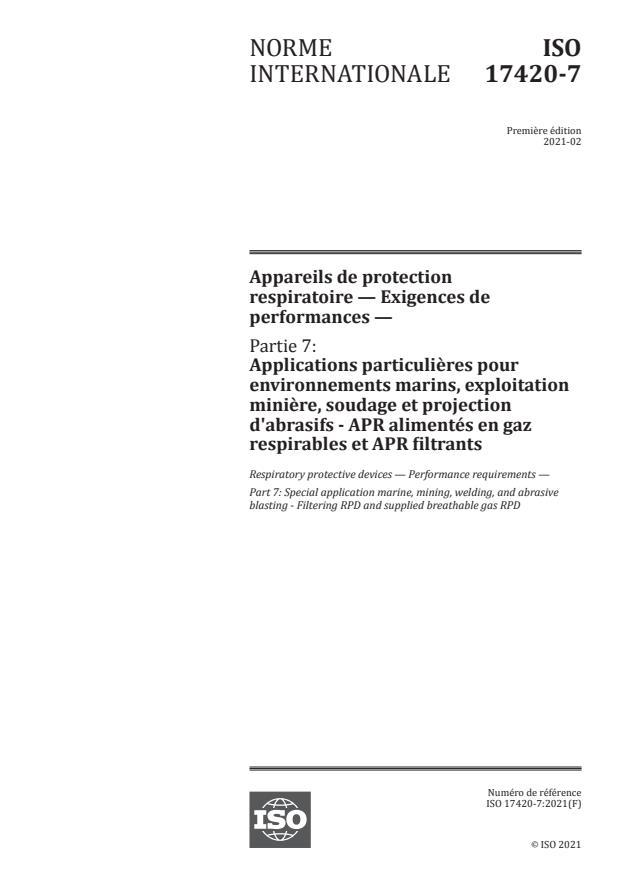 ISO 17420-7:2021 - Appareils de protection respiratoire -- Exigences de performances