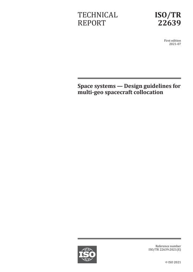 ISO/TR 22639:2021 - Space systems -- Design guidelines for multi-geo spacecraft collocation