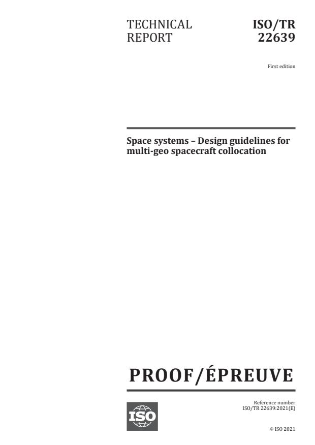 ISO/PRF TR 22639:Version 22-maj-2021 - Space systems – Design guidelines for multi-geo spacecraft collocation