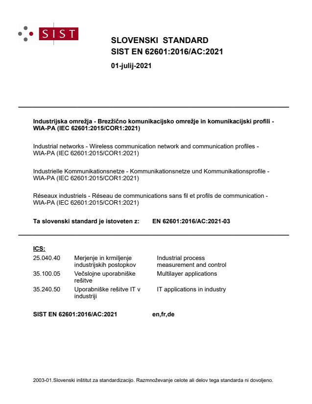SIST EN 62601:2016/AC:2021