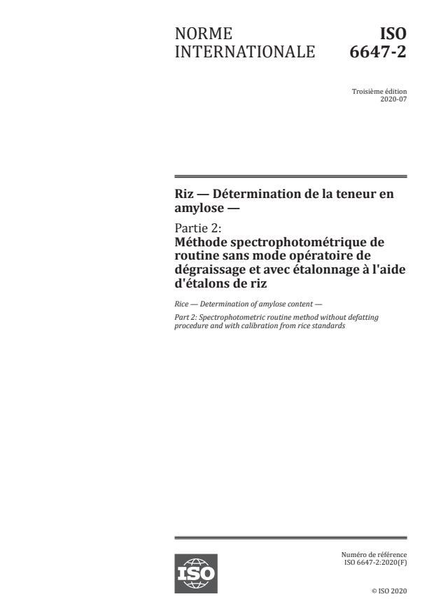 ISO 6647-2:2020 - Riz -- Détermination de la teneur en amylose