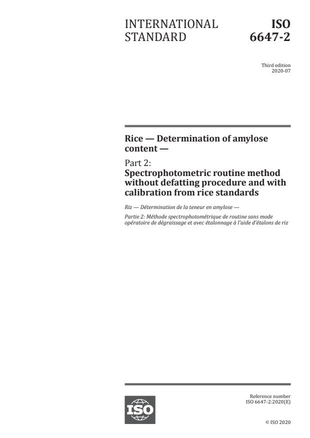 ISO 6647-2:2020 - Rice -- Determination of amylose content