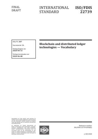 ISO/FDIS 22739 - Blockchain and distributed ledger technologies -- Vocabulary