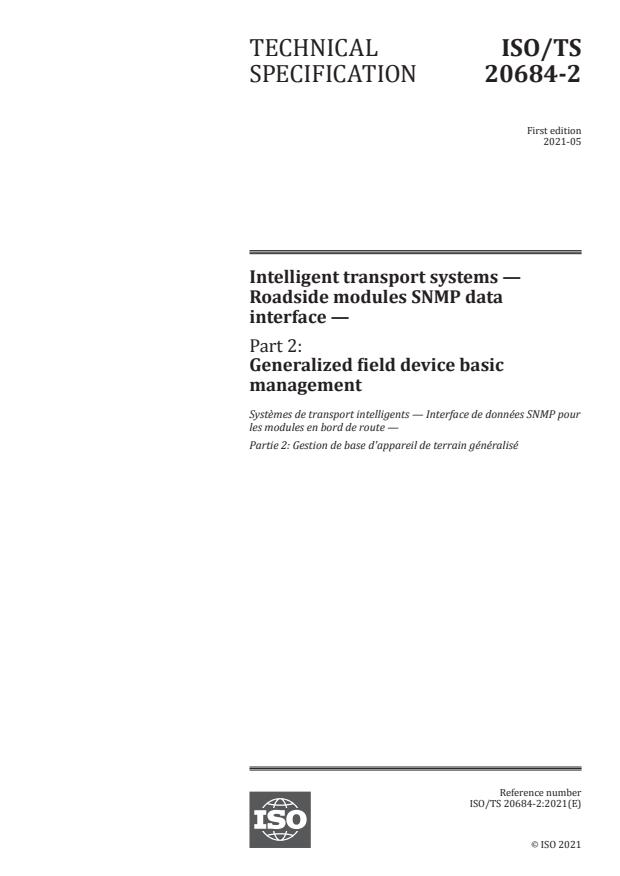 ISO/TS 20684-2:2021 - Intelligent transport systems -- Roadside modules SNMP data interface