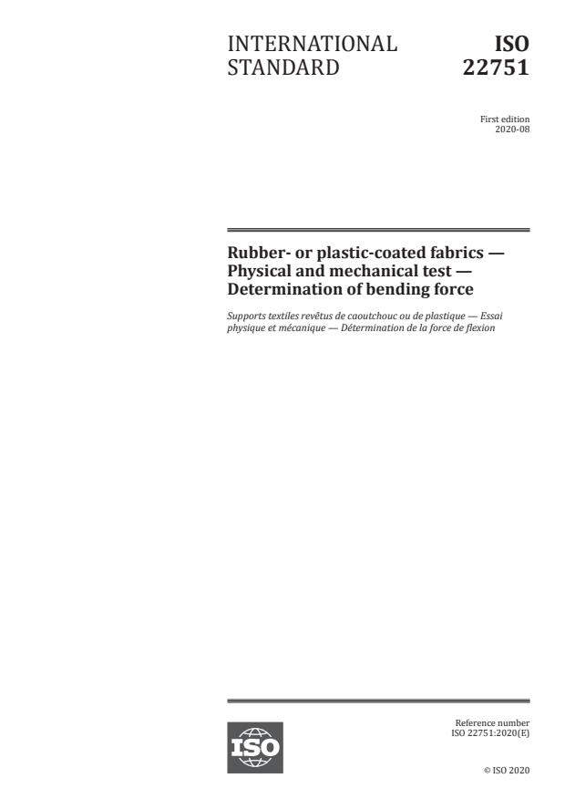 ISO 22751:2020 - Rubber- or plastic-coated fabrics -- Physical and mechanical test -- Determination of bending force