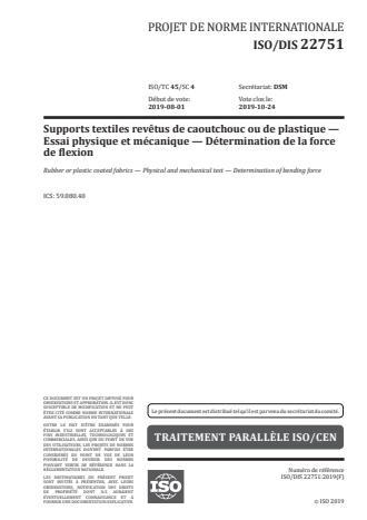ISO 22751:2020 - Supports textiles revetus de caoutchouc ou de plastique -- Essai physique et mécanique -- Détermination de la force de flexion