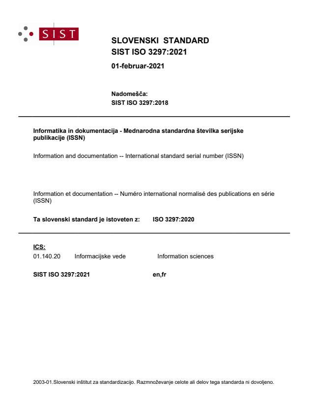 SIST ISO 3297:2021