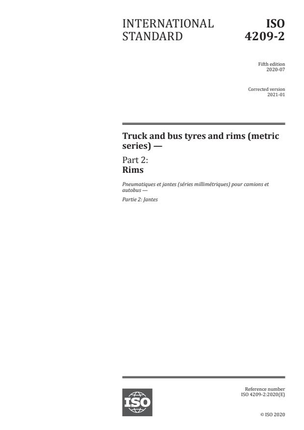 ISO 4209-2:2020 - Truck and bus tyres and rims (metric series)
