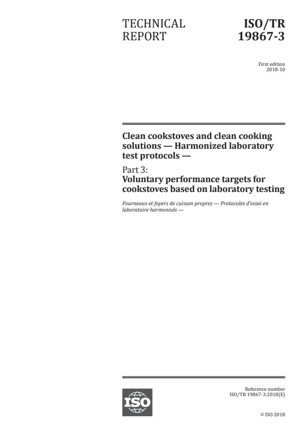 ISO/TR 19867-3:2018 - Clean cookstoves and clean cooking solutions -- Harmonized laboratory test protocols
