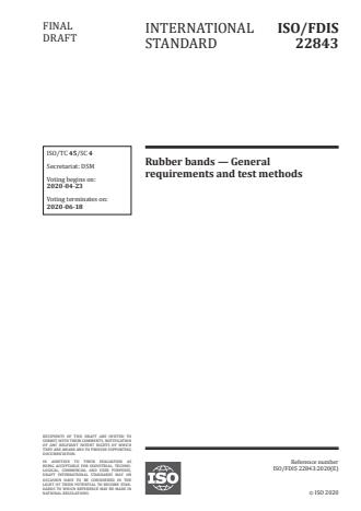 ISO/FDIS 22843 - Rubber bands -- General requirements and test methods