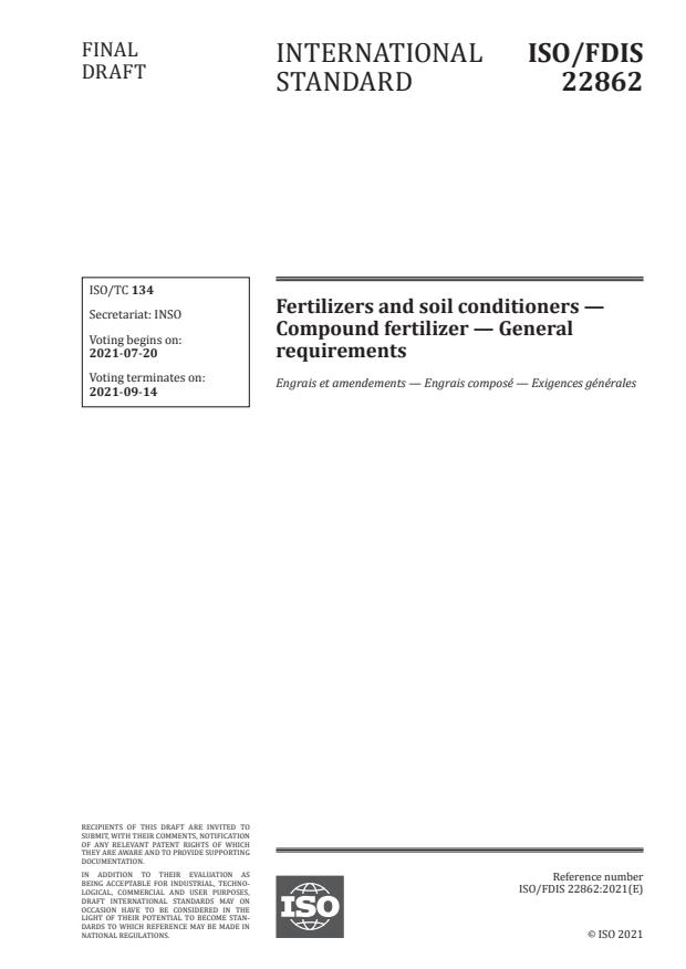ISO/FDIS 22862 - Fertilizers and soil conditioners -- Compound fertilizer -- General requirements