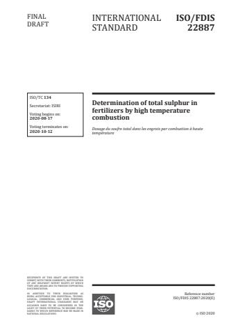 ISO/FDIS 22887:Version 13-okt-2020 - Determination of total sulphur in fertilizers by high temperature combustion