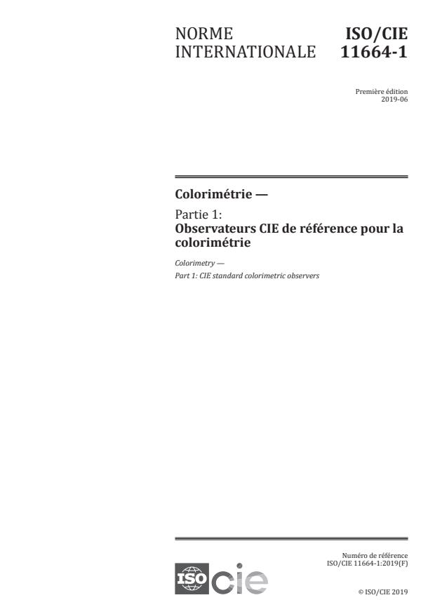 ISO/CIE 11664-1:2019 - Colorimétrie