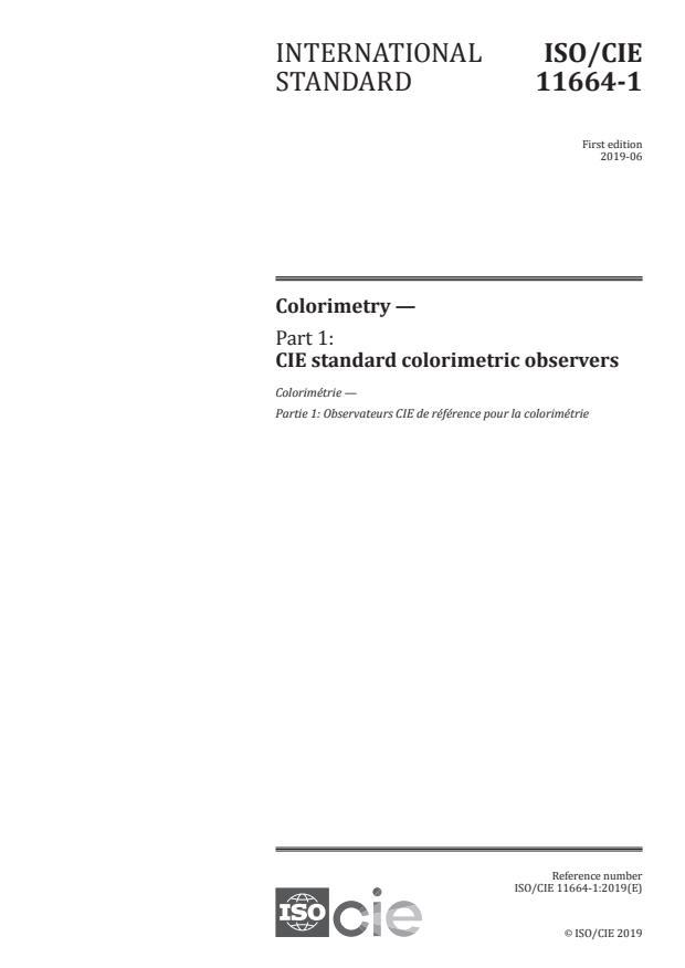 ISO/CIE 11664-1:2019 - Colorimetry