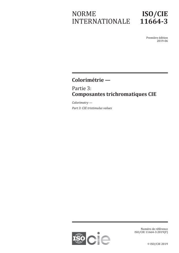 ISO/CIE 11664-3:2019 - Colorimétrie