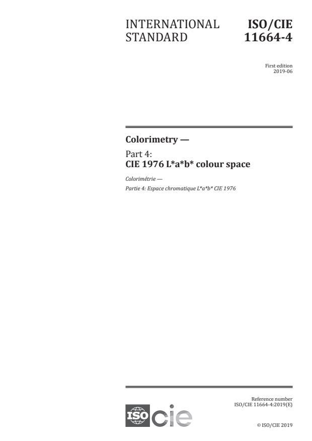 ISO/CIE 11664-4:2019 - Colorimetry