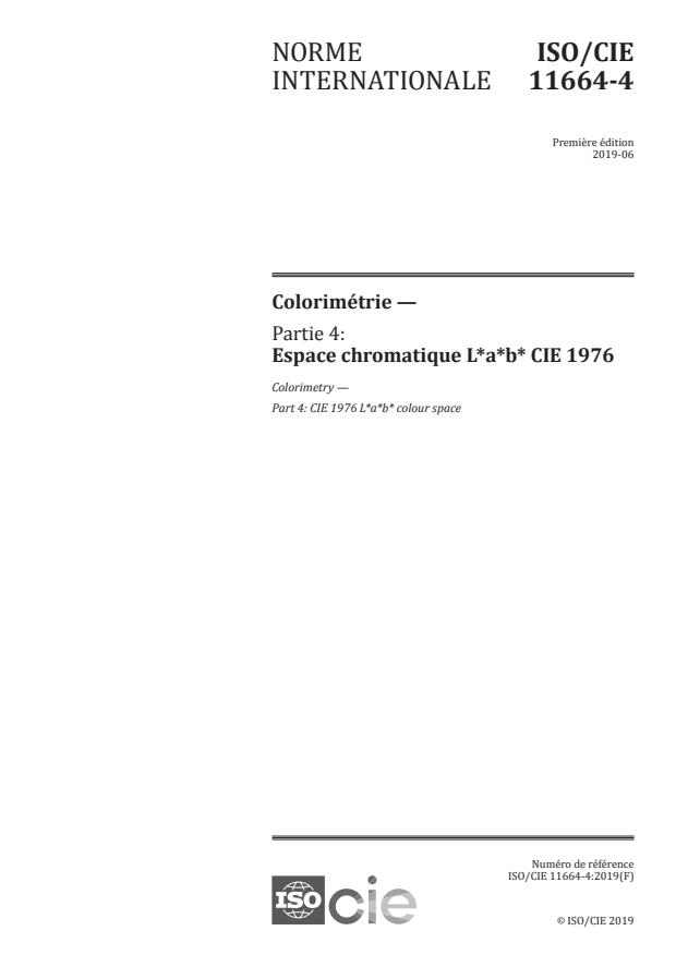 ISO/CIE 11664-4:2019 - Colorimétrie