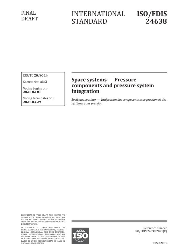 ISO/FDIS 24638:Version 22-jan-2021 - Space systems -- Pressure components and pressure system integration