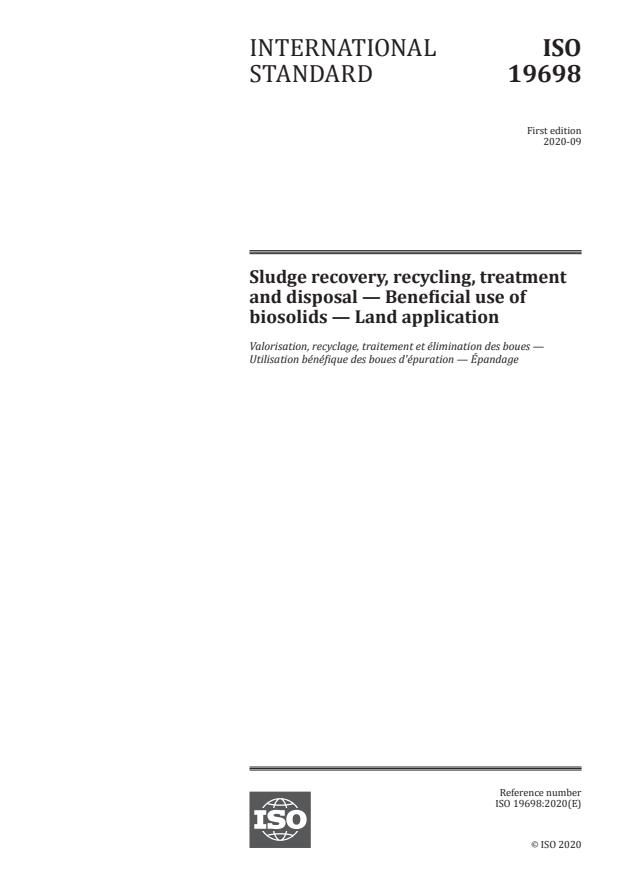 ISO 19698:2020 - Sludge recovery, recycling, treatment and disposal -- Beneficial use of biosolids -- Land application
