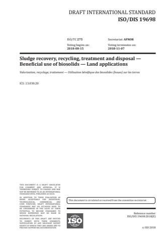 ISO/FDIS 19698 - Sludge recovery, recycling, treatment and disposal -- Beneficial use of biosolids -- Land application