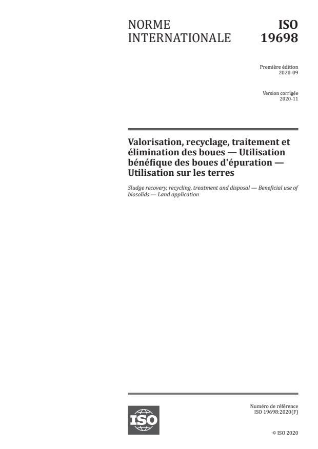 ISO 19698:2020 - Valorisation, recyclage, traitement et élimination des boues -- Utilisation bénéfique des boues d'épuration -- Utilisation sur les terres