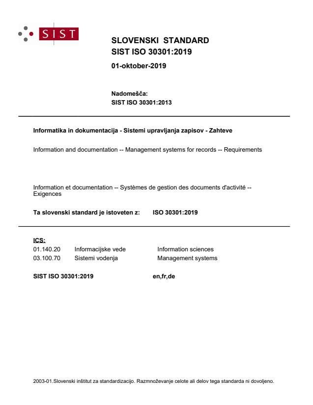 SIST ISO 30301:2019