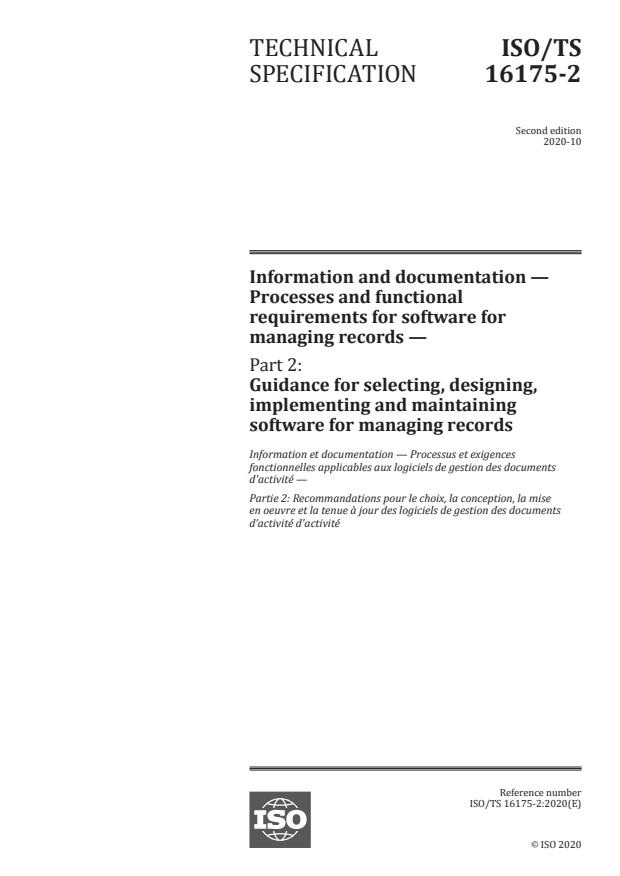 ISO/TS 16175-2:2020 - Information and documentation -- Processes and functional requirements for software for managing records